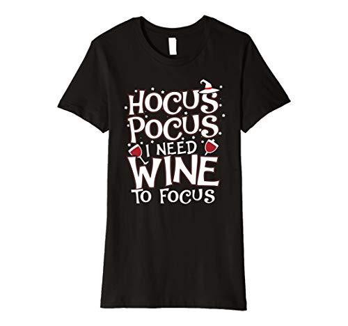 Damen Damen Hocus Pocus I Need Wein zu Focus Halloween-Kostüm T-Shirt