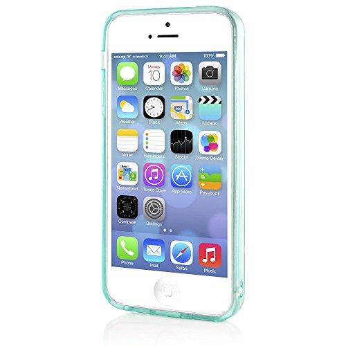 iPhone 5 5S SE Hülle Handyhülle von NICA, Ultra-Slim Silikon Case Cover Schutzhülle Dünn Durchsichtig, Handy-Tasche Backcover Transparent Bumper für Apple iPhone SE 5S 5 - Rot Transparent Türkis Transparent