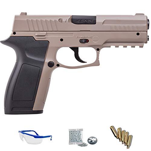 MK45 Crosman Pack Pistola de Aire comprimido (CO2) y balines de Acero  (perdigones BBS) Calibre 4 5mm  Réplica de 150m/s <3,5J