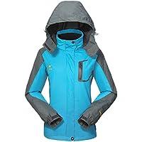 Chaqueta Impermeable Mujeres deportiva-GIVBRO 2017 Softshell con capucha, al aire libre Nuevo diseño acampar Senderismo Mountaineer viaje Chaquetas (azul, XL)
