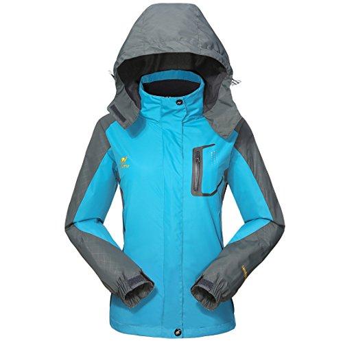 GIVBRO Damen Softshell Regenjacke 2017 Neues Design Sport Wasserdichte Outdoorjacke Atmungsaktive Multifunktions Funktionsjacke Jacke,Blau,EU 40(Herstellergröße:L) (Damen-knopf-front-jacke)