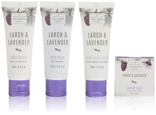 Scottish Soaps Larch & Lavender Luxurious Gift Set 3x75ml Tubes, 1x40g Soap, Drum