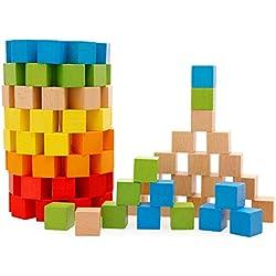 Lewo Bloques de construcción de madera Set niños educativos apilamiento de juguetes 100 piezas