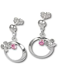 SilberDream Boucles d'oreilles - boucles d'oreilles fleur sur l'anneau zircon rose - argent sterling 925 pour femme - SDO547A