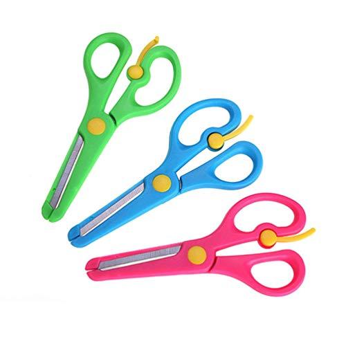TOYANDONA 3pcs diy Fertigkeit scissor Sicherheitsschere mit Plastikpaket und runder Hauptgröße m mischte Farbe -
