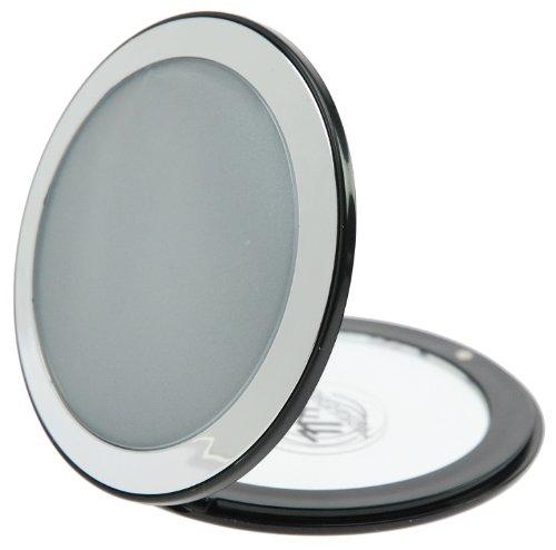 Fantasia Taschenspiegel Ø 8,5 cm und klappbar, normal und 7-fache Vergrößerung (zweiseitig), runder Klappspiegel aus Kunststoff in schwarz und silber - Äußere Scharnier