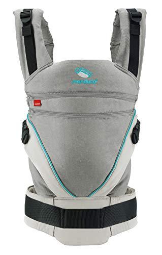 manduca XT / grey-ocean / Babytrage mit verstellbarem Steg, Babybauchtrage Hüft und Rückentrage, für Neugeborene & Kinder (3,5-20kg) grau/türkis