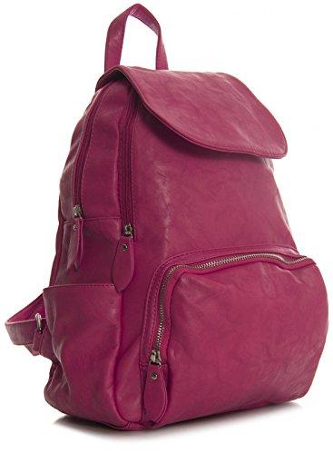 BHBS Unisexe Plaine Doux Moyen Taille Sac à Dos Sac à Main 28x37x13 cm (LxHxP) (841 Pink)