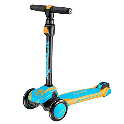 HUAXING 3 Wheel Folding Tri Scooter with Adjustable T Bar Height, for Kids, Children, Adults, Suitable Ages 6,7,8,9,10 to Small Adults Comes,Blue