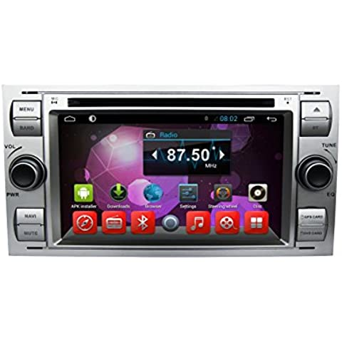Jasco 7 pollici 2 DIN In dash 1024 * 600HD Touch Screen Quad Core Android 4.4.4 auto Streo Lettore DVD per Ford Mondeo/Focus Vecchia con navigazione gps/Wifi/Bluetooth/Radio/Video/USB/AUX/rubrica/RDS