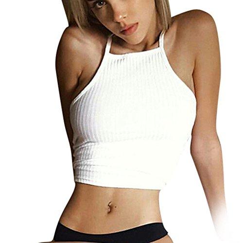 38ce6b3a35f Vovotrade® Frauen Sleeveless Crop Tops Weste Backless Halter Tank Tops  Bluse T-Shirt (