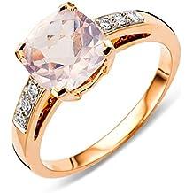 Miore MP9070R Rojo Oro cuarzo anillo de compromiso 9KT (375) con brillantes 0,06ct
