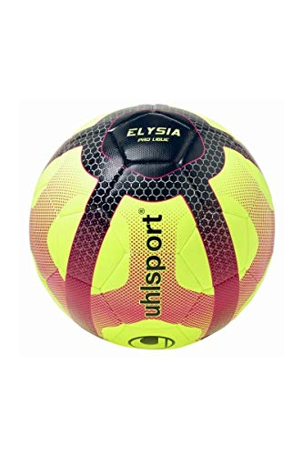 UHLSPORT - Elysia Ballon Replica - Ballon Football - Design Ligue 1 - Cousu Main - Blanc/Bleu Marine/Fuchsia, Taille 5
