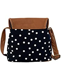 Mabel Eliza Black Convas Polka Dot Sling Bag With PU Flap