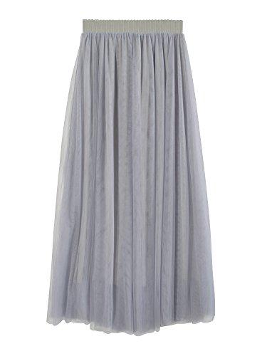 Donna gonna lunga di tulle elastico in vita stile elegante casual tulle a 3 strati solida colore linea ad a - grigio 80cm
