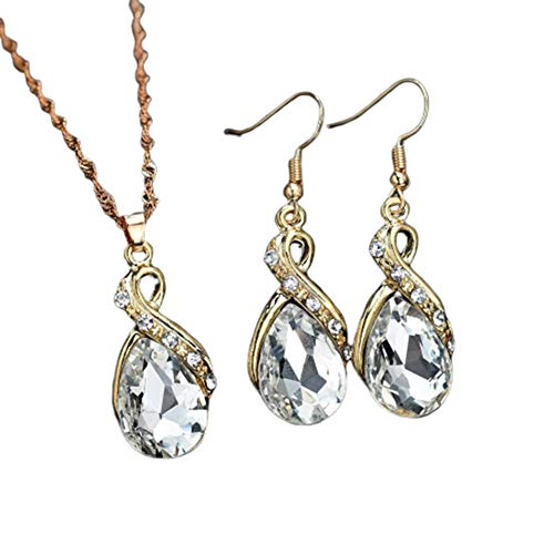 YWRD Diamant-Halsketten-Ohrring-Sätze Mit Kristallanhänger Attraktives Elegantes Romantisches Jahrestags-Geschenk Für Frauen-Kleid Mit Hochzeit White