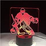 Luz Nocturna Jugador De Hockey Sobre Hielo Deporte 3D Lámpara 7 Luz Led De Noche Colorida Usb Dormitorio Sueño Iluminación Regalos Para Niños Decoración De Los Canadienses