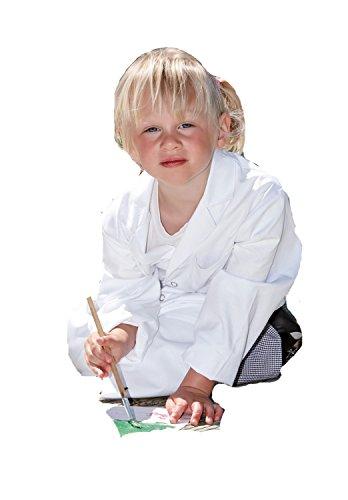 Kids Kinder Mantel / Berufsmantel Weiss m. Druckknöpfe in Gr. 110/116 waehlbar, 100% Baumwolle ca. 230gr. (Koch-mantel 100% Baumwolle)