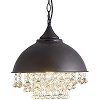 66ec7eab4fed0f Lustre vintage rétro noir rond à LED en cristal Style industriel vieilli  Suspension lampe Loft créative
