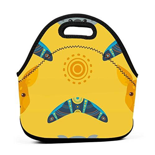 Lunchtasche für Herren, Australien Känguru auf gelbem Muster, Lunchbox, wiederverwendbar, für Camping, Reisen