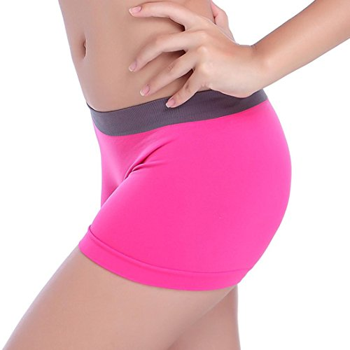 2d6128130daa3 Oyedens Women Stretchy Spandex Skinny Yoga Shorts Pants for Running Sports  Gym Workout (Hot Pink)