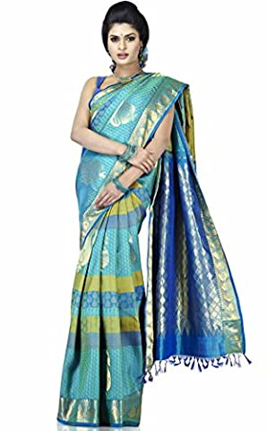 Sudarshan Silks Women's Pure Silk Kanjeevaram Hand Woven Saree One