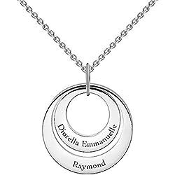 SOUFEEL Collar Plata de Ley Colgante con Nombre Personalizados Joya Mujer Regalo para Familia Novia Cumpleaño Cadena Más Extención