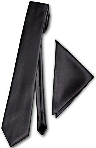 Herren Schmale Satinkrawatte mit Einstecktuch Anzug schmale Krawatte Edel Satin 30 Uni Farben NEU (Grau)
