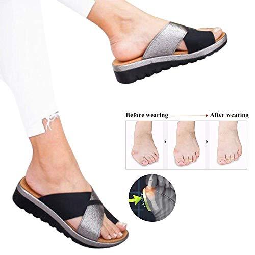 Attelles de Bunion, Chaussures de Sandale de Plate-Forme de Soutien d'hallux Valgus de Gros Orteil de Femmes pour Le Traitement,Black,38