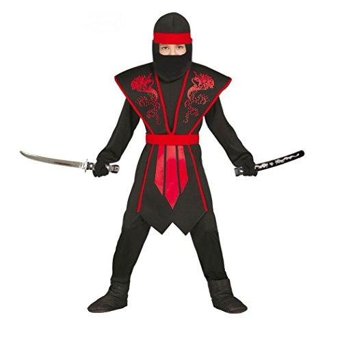 Elegantes Ninja Kostüm Kinder rot schwarz mit schicker Rüstung für Jungen (110/116)