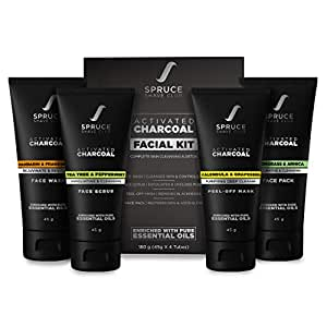 Spruce Shave Club Charcoal Facial Kit For Men   For Blackhead Removal, Deep Skin Cleansing & Oil Control   Face Wash, Face Scrub, Peel Off Mask, Face Pack   No Sulfates Or Parabens