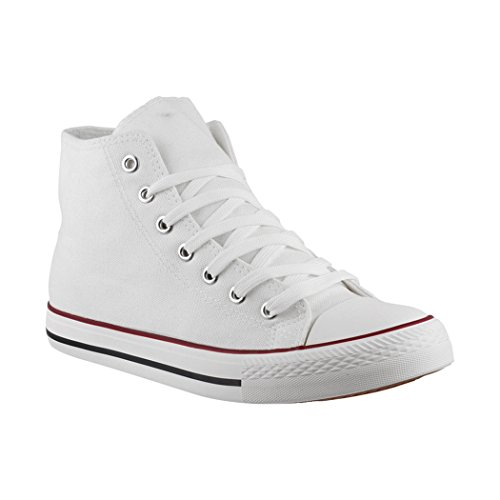 Elara Unisex Sneaker | Sportschuhe für Herren Damen | High Top Turnschuh Textil Schuhe 85-109-B-Weiss-36