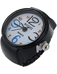 SODIAL(R) Reloj Anillo Redondo Metal Ajustable Color Negro 22mm Moda