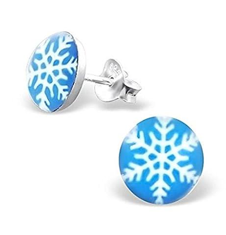 Flocon de neige–Boucles d'Oreilles Femme–Argent Sterling 7mm Clous de Noël