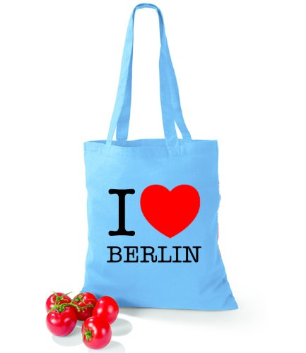 Artdiktat Baumwolltasche I love Berlin Surf Blue