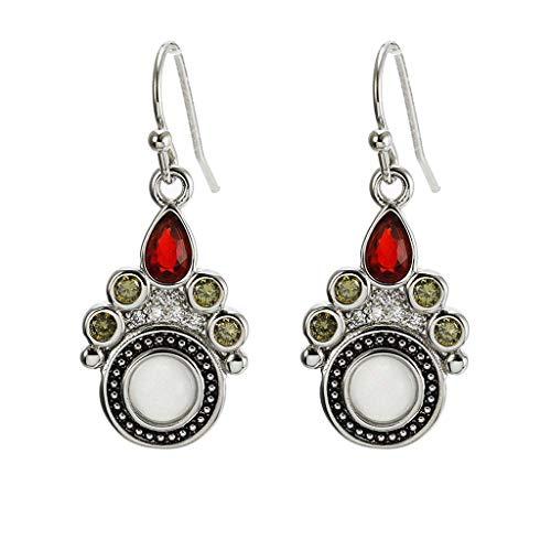 Floweworld Vintage baumeln Ohrringe Mondstein natürlichen Edelstein Ausschnitt Ohrringe Schmuck Ohrbügel für Frauen -
