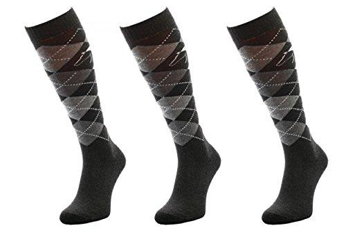 COMODO 3x SET - REITSOCKEN COTTON - 82% Baumwolle | Reitstrümpfe | Kniestrümpfe | Socken | Karomuster | Perfect Fit | Antibakteriell | Geruchshemmend | Feuchtigkeitsregulierend, Farbe:Cotton - Black/Gray/Gray Dark;Größen:39-42