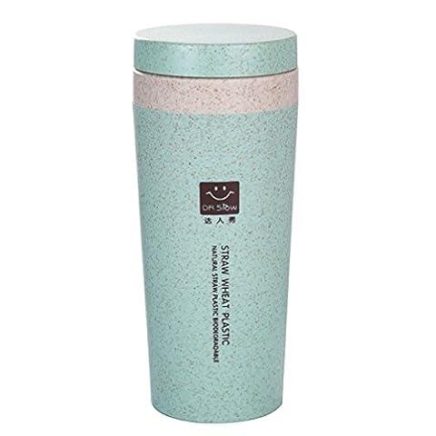 TIFIY HOT Travel Mug Office Coffee Tea Water Bottle Cups Straw Wheat Plastlc Cup (Green)