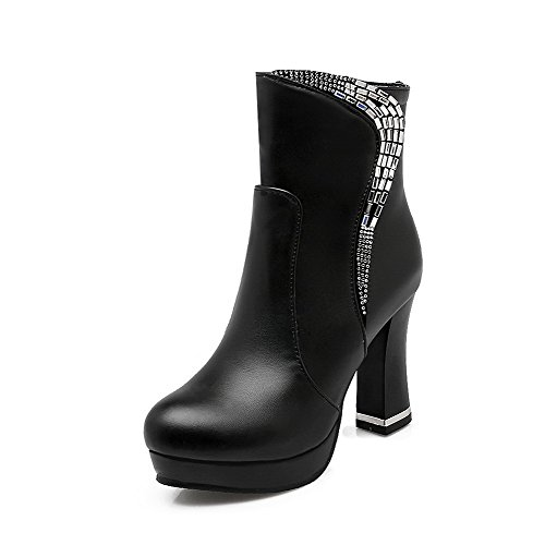 AllhqFashion Damen Reißverschluss Mattglasbirne Eingelegt Niedrig-Spitze Stiefel, Schwarz-PU, 36