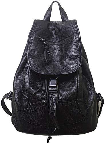 LIEOAG Frauen Leder Rucksack Freizeit Retro Schulrucksack Wasserdicht Business Travel Fashion Daypack Red-black-Onesize