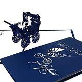 """Pop-Up Karte Kinderwagen """"Alles Liebe zur Geburt"""" Blau - Glückwunschkarte zur Geburt, Baby Karte, Pop Up Karten, 3D Karte, Geburtskarte"""