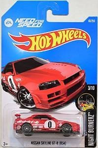 Hot Wheels, 2016 Night Burnerz, Need for Speed Nissan Skyline GT-R (R34) [Red] #83/250 by California