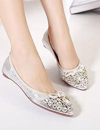 ZQ YYZ Zapatos de mujer - Tac¨®n Bajo - Comfort / Puntiagudos - Planos - Exterior / Casual / Laboral - Semicuero - Negro / Rosa / Blanco / Plata , white-us12 / eu44 / uk10 / cn46 , white-us12 / eu44 /