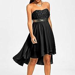 Kanpola Women Summer Party Full Dress Off Shoulder Empire Waist Chiffon Bandeau Irregular Dress