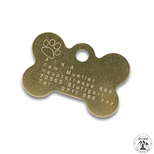 Preisvergleich Produktbild Hundemarke mit Gravur - ID Tag - Adressanhänger - Adressschild - Individuelle - Personalisiert - Diamantgravur (Gold)