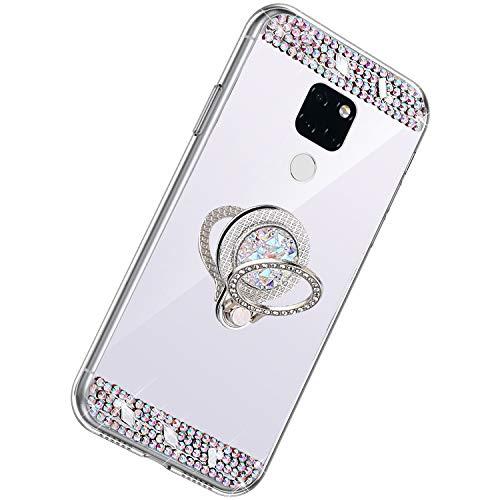 Herbests Kompatibel mit Huawei Mate 20 Hülle Glitzer Kristall Strass Diamant Silikon Handyhülle mit Ring Halter Ständer Schutzhülle Überzug Spiegel Clear View Handytasche,Silber