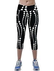 Naonoopy - Leggins de cintura alta para mujer, estampados, ideales para yoga, fitness y deporte en general, color negro, tamaño XL
