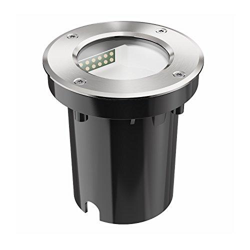 ledscom.de LED Boden-Einbauleuchte für außen, seitwärts gerichtetes Licht, warm-weiß, IP65, 230V, 100mm Ø (Einbauleuchten Boden-licht)