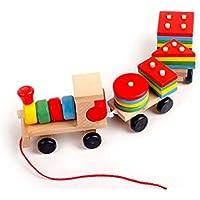 Preisvergleich für Hukangyu1231 Babyspielzeuge, pädagogische Spielwaren der Kinder Kinder pädagogische Umweltschutz Early Education Toys, Ziehen DREI Blöcke von Kleinen Zügen für Kleinkind Jungen Mädchen Alter 3+