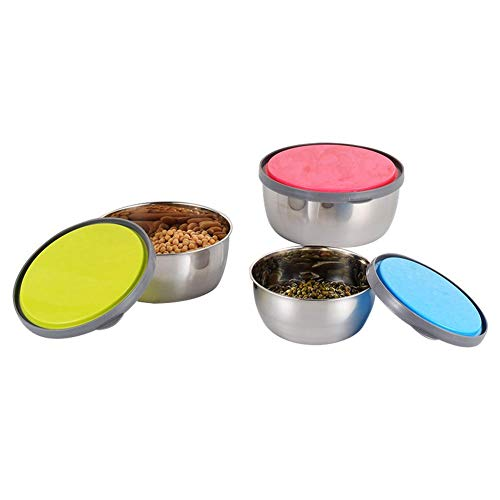 iBaste_top DREI - Stück - Edelstahl - Vorratsbehälter für Lebensmittel - Kühlschrank - Versiegelte Dosen - Frische Schale mit Auslaufsicherer Silikonhülle - Wiederverwendbare und Waschbare Brotdosen